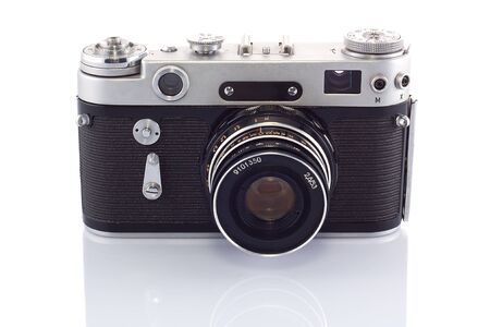 The old rangefinder camera isolated on white background Stock Photo - 13894428