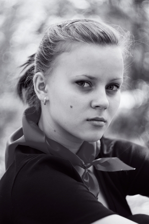 Portrait of pretty young girls outdoors  In black and white
