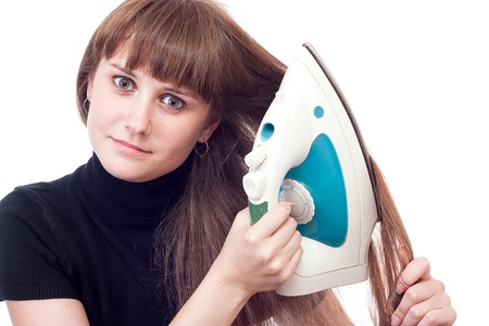 Girl ironed her hair