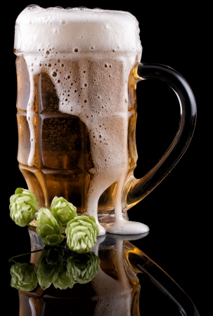 Glass of cold beer on a black background  Nearby lies hop Stock Photo - 16398924