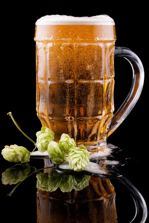 Glass of cold beer on a black background  Nearby lies hop  Stock Photo - 16399004