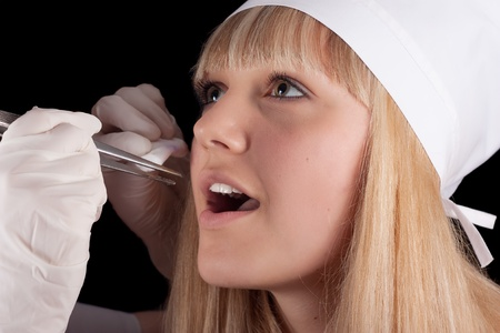 Dental examination blonde nurse