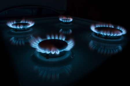 Burning gas in a circle on isolated on black  photo