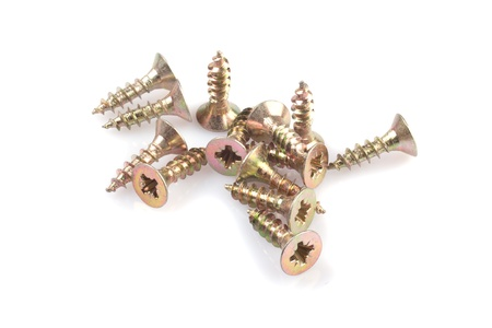 A bunch of screws on a white background