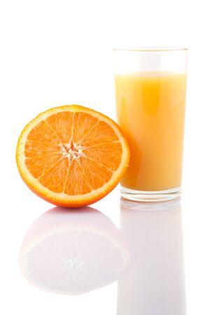 Glass of orange juice and orange slice isolated on white Stock Photo