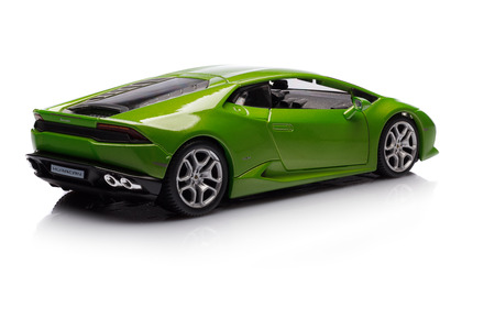 lamborghini: SANTAGATA BOLOGNESE, BOLOGNA, ITALY - JAN 20 - Toy lamborghini huracan on white background, Tuesday 20 January 2015
