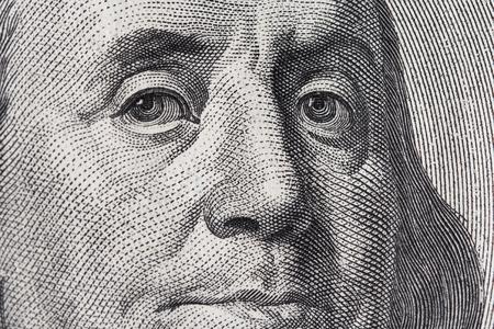 qualitative: Benjamin Franklin. Qualitative portrait from 100 dollars banknote. Stock Photo