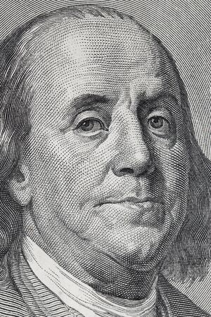 the franklin: Benjamin Franklin. Qualitative portrait from 100 dollars banknote. Stock Photo