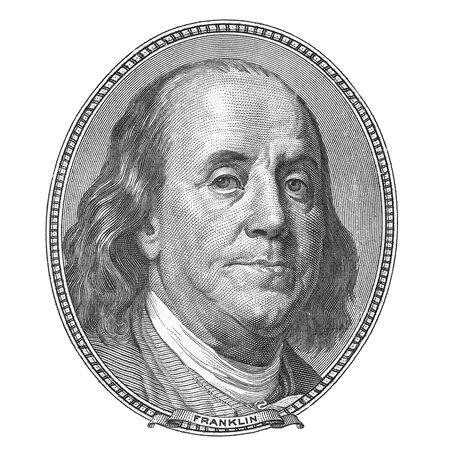 benjamin: Benjamin Franklin. Qualitative portrait from 100 dollars banknote. Stock Photo