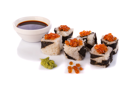 Roll the delicious sushi on a white background.