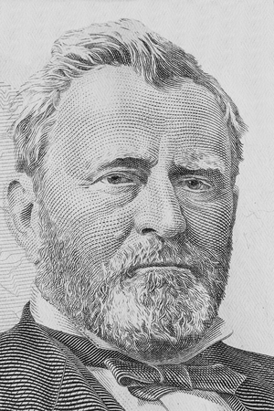 Ulysses Simpson Grant. Qualitative portrait from 50 dollars banknote. Editorial