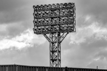 Photo of the stadiums lighting tower with a lot of spotlights.