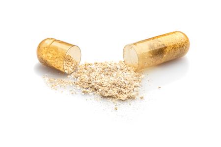 Photo of medical pills on white background.