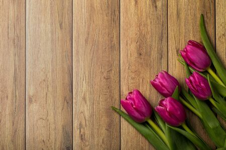 Tulips of different colors on a wooden background.  Reklamní fotografie