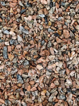Granite crushed stone. Close-up of crushed stone.