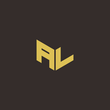 AL A L LA icon Letter Initial Designs Template with Gold and Black Background, Vector icon modern