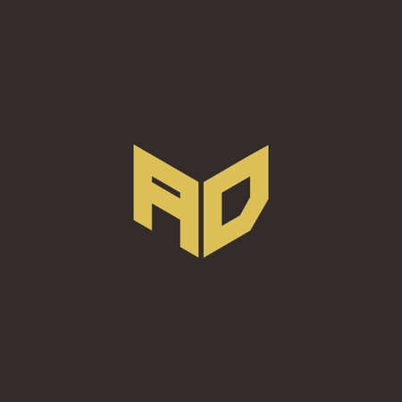 AD A D DA Logo Letter Initial Logo Designs Template with Gold and Black Background, Vector icon modern