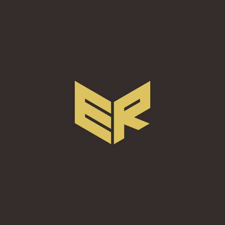 Logo Letter Initial Logo Designs Template with Gold and Black Background, Vector icon modern