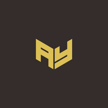 AY A Y YA Logo Letter Initial Logo Designs Template with Gold and Black Background, Vector icon modern 向量圖像