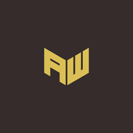 AW A W WA Logo Letter Initial Logo Designs Template with Gold and Black Background, Vector icon modern