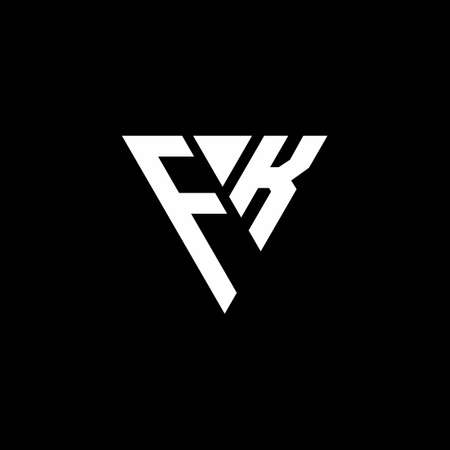 FK letter monogram with triangle shape design template isolated on black background