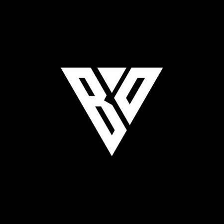 BO letter monogram with triangle shape design template isolated on black background Çizim