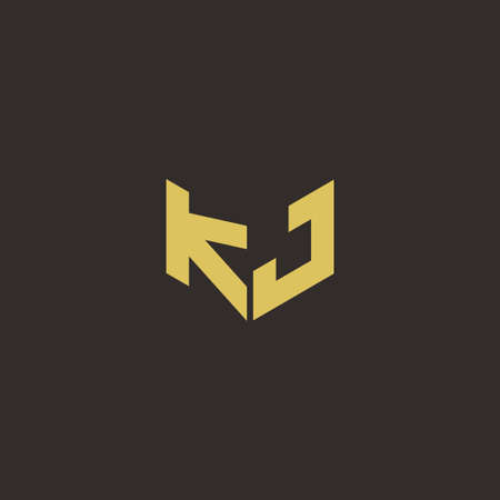 Letter Initial Designs Template with Gold and Black Background, icon modern