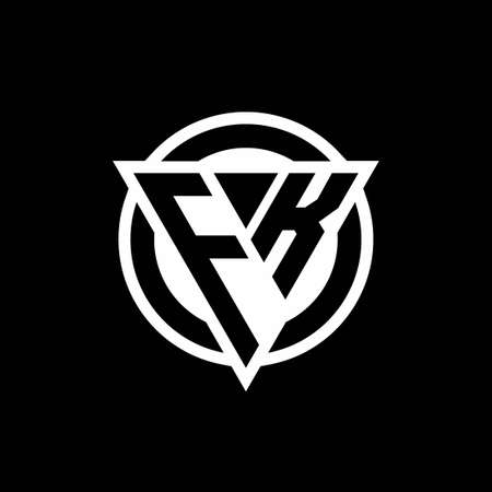 FK logo with negative space triangle shape and circle rounded design template isolated on black background