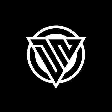DN logo with negative space triangle shape and circle rounded design template isolated on black background