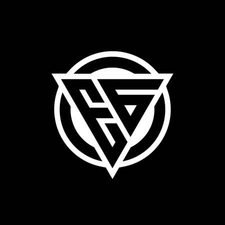 EG logo with negative space triangle shape and circle rounded design template isolated on black background Ilustração