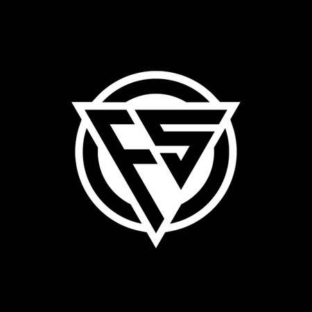 FS logo with negative space triangle shape and circle rounded design template isolated on black background Logó