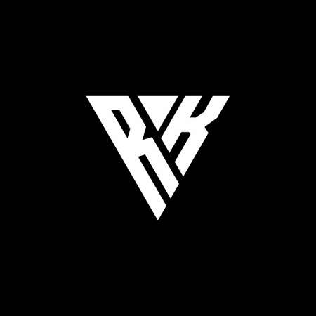 RK Logo letter monogram with triangle shape design template isolated on black background