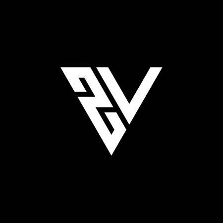 ZV Logo letter monogram with triangle shape design template isolated on black background Logó