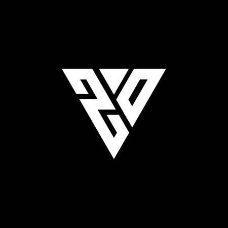ZO Logo letter monogram with triangle shape design template isolated on black background Ilustração