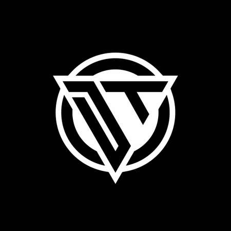 DT logo with negative space triangle shape and circle rounded design template isolated on black background