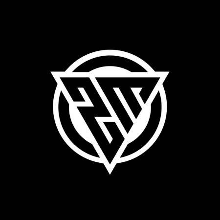 ZM logo with negative space triangle shape and circle rounded design template isolated on black background