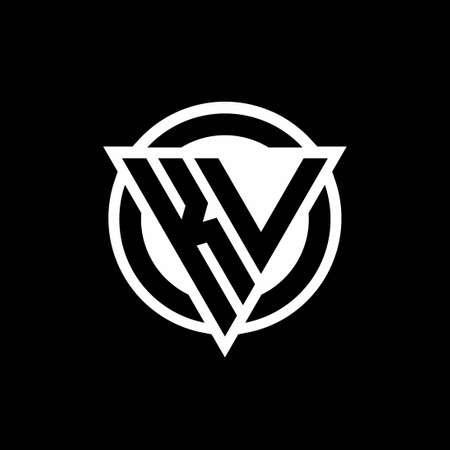 KV logo with negative space triangle shape and circle rounded design template isolated on black background