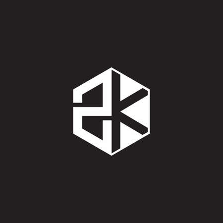 ZK Z K KZ monogram with triangle and hexagon shape combination isolated on black and white colors
