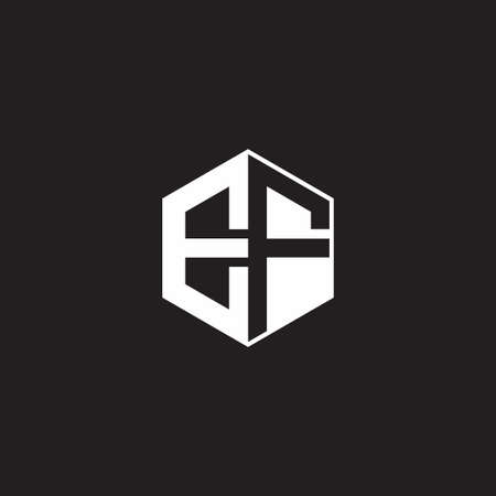 EF E F FE monogram with triangle and hexagon shape combination isolated on black and white colors