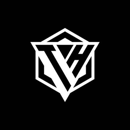 TH monogram hexagon with black background negative space style Vektoros illusztráció