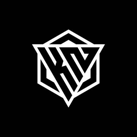 KN monogram hexagon with black background negative space style