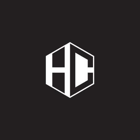 HC H C CH monogram hexagon with black background negative space style 向量圖像