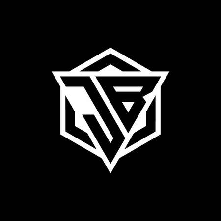 JB monogram hexagon with black background negative space style