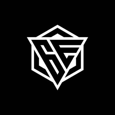 GE monogram hexagon with black background negative space style Ilustração