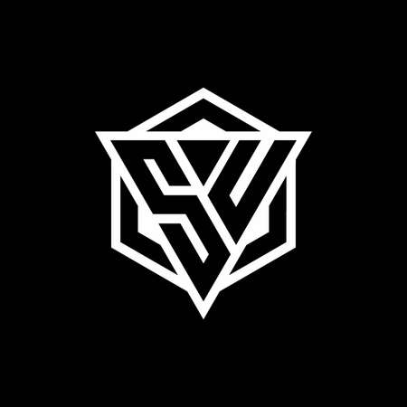SU monogram hexagon with black background negative space style