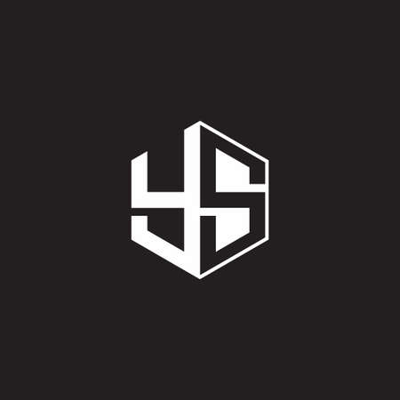 YS Y S SY monogram with triangle and hexagon shape combination isolated on black and white colors