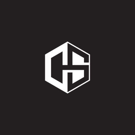 CS C S SC monogram with triangle and hexagon shape combination isolated on black and white colors 向量圖像