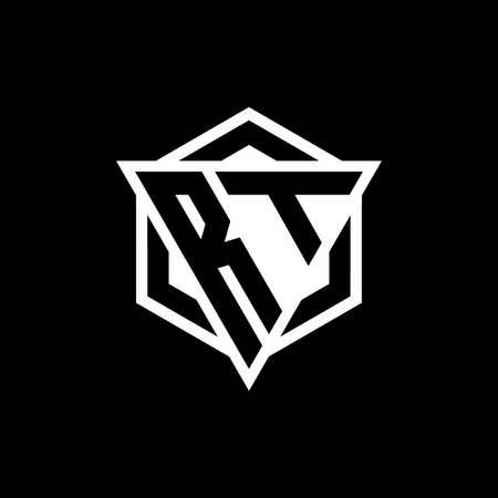 RT monogram with triangle and hexagon shape combination isolated on black and white colors Vektoros illusztráció