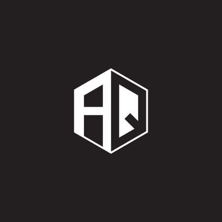 AQ A Q QA monogram with triangle and hexagon shape combination isolated on black and white colors