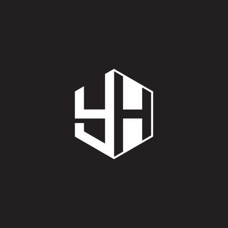 YH Y H HY monogram with triangle and hexagon shape combination isolated on black and white colors